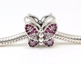 d4ef7e0c2 Authentic Pandora Charms 925 ALE Sterling Silver Butterfly Pink Crystal  Bracelet Bead Charm Necklace Pendant Gifts for Women Gifts for Her