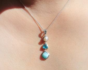 Larimar Necklace, 925 Sterling Silver, Larimar, Necklace, Pendant, Gemstones, Necklace Pendant, Silver Jewelry, Gift for Her, Gift for Women