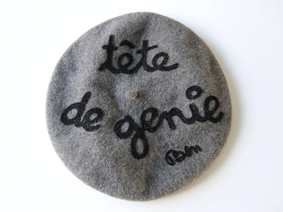 """BEN VAUTIER Vintage wool beret meaning """" Head of g"""