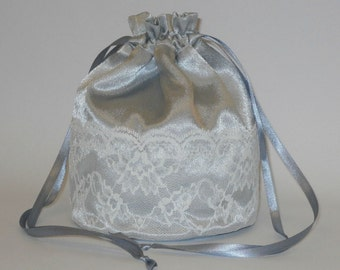 Silver Satin & Ivory Lace Dolly Bag Evening Handbag / Purse For Wedding Or Bridesmaid