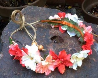Silk flower crown etsy tropical hawaiian moana bridal festival silk flower crownheadband mightylinksfo
