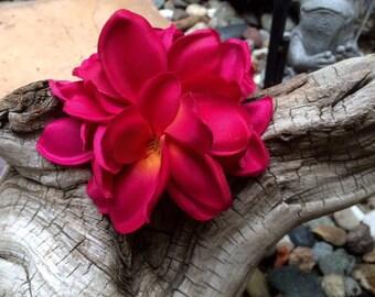 Tropical flower fuschia plumeria hair clip