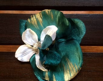 Teal and Gold Orchid/Vanilla Tropical Flower, Bridal hair clip