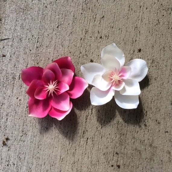 Magnolia silk flower hair clips sold in a set of one pink and etsy image 0 mightylinksfo