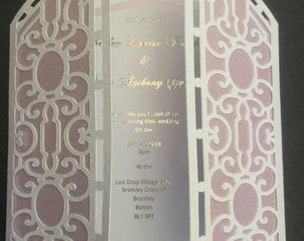 Church gate  laser cut wedding invitation
