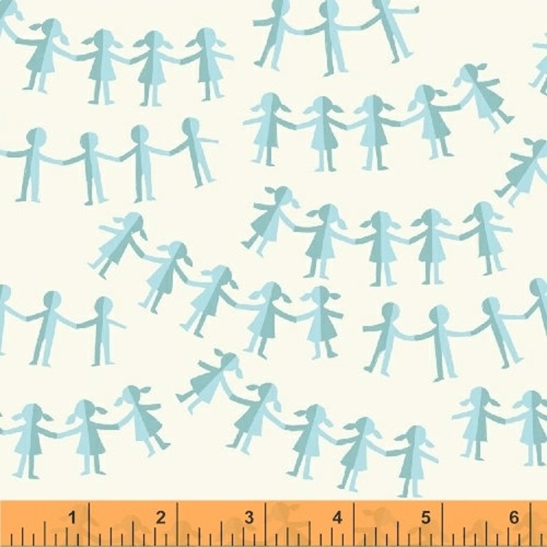 End of Bolt piece Paper Dolls in Blue Kinder by Heather Ross Windham Fabrics 1Y 22