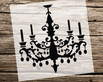 Chandelier stencil etsy chandelier custom stencil custom stencils multiple sizes reusable stencils ready to use get ready to paint aloadofball Image collections