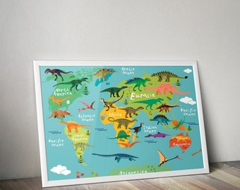 Dinosaur world map etsy dinosaur map canvas world map nursery kids room map world map print map kids print wall art nursery world map dinosaur print gumiabroncs Image collections