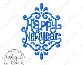 Happy New Year Machine Embroidery Design 4x4 5x7 6x10 INSTANT DOWNLOAD