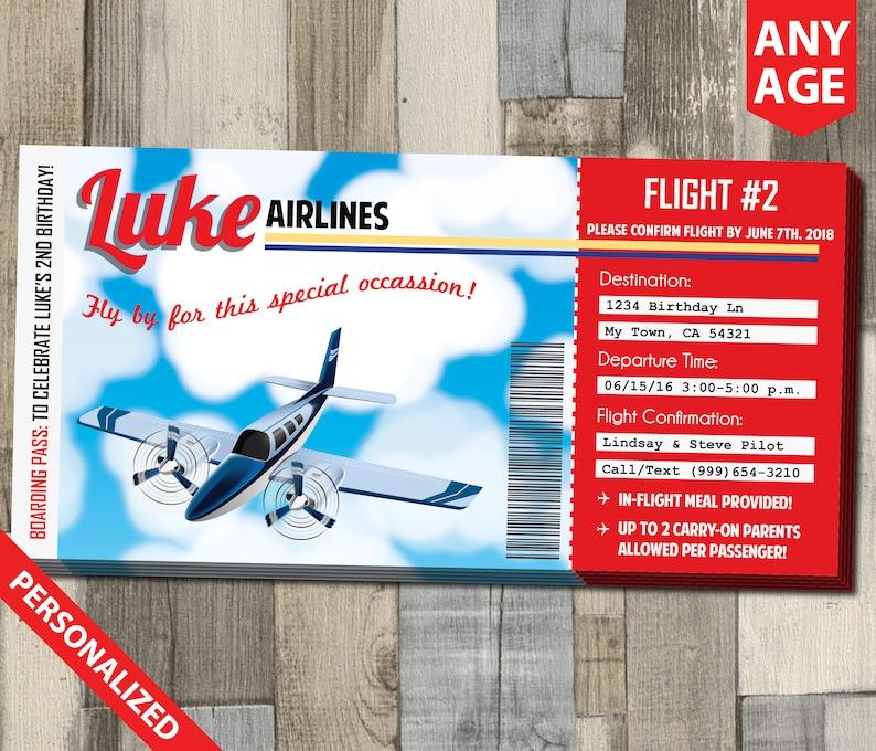 Printable Airplane Boarding Pass Invitation Airplane Pilot Etsy