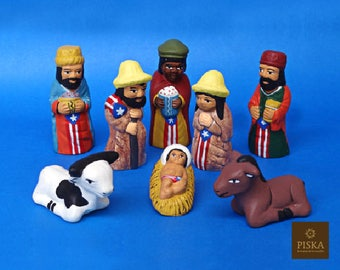 "Puerto Rican Nativity Scene - Handmade in Clay - 8 characters - 2.8"" high"