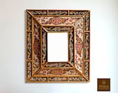 Colonial Medallion Mirror (eglomise) - Dark Green White Color Combination - 15.4 quot x 13.4 quot , Luxury Mirror, Exclusive
