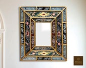 Colonial Medallion Mirror (eglomise) - Dark Green Color Combination - 15.4 quot x 13.4 quot , Luxury Mirror, Exclusive