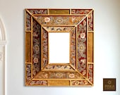 Colonial Medallion Mirror (eglomise) - Red Gold Color Combination - 15.4 quot x 13.4 quot , Luxury Mirror, Exclusive