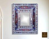 Colonial Medallion Mirror (eglomise) - Purple Silver Color Combination - 15.4 quot x 13.4 quot , Luxury Mirror, Exclusive