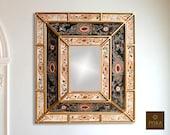 Colonial Medallion Mirror (eglomise) - Dark Green Cream Color Combination - 15.4 quot x 13.4 quot , Luxury Mirror, Exclusive