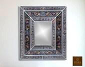 Colonial Medallion Mirror (eglomise) - Grey Silver Color Combination - 15.4 quot x 13.4 quot , Luxury Mirror, Exclusive