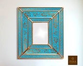 Floral Mirror (eglomise) - Turquoise Gold Color Combination - 15.4 quot x 13.4 quot , Luxury Mirror, Exclusive