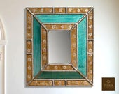 Floral Mirror (eglomise) - Solid Turquoise Beige Color Combination - 15.4 quot x 13.4 quot , Luxury Mirror, Exclusive