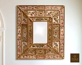 Colonial Medallion Mirror (eglomise) - Red, White Beige Color Combination - 15.4 quot x 13.4 quot , Luxury Mirror, Exclusive