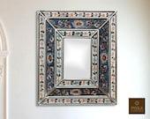 Colonial Medallion Mirror (eglomise) - Blue Silver Color Combination - 15.4 quot x 13.4 quot , Luxury Mirror, Exclusive
