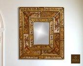Colonial Medallion Mirror (eglomise) - White Beige Color Combination - 15.4 quot x 13.4 quot , Luxury Mirror, Exclusive