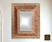 Mirror (eglomise) quot Lyon quot - Reverse Painted Glass - 22 quot x 18 quot , Luxury Mirror, Exclusive