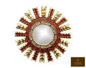 Sunburst Wall Mirror 20.9 quot - Mirror Cuzcaja style, flower design - Red Color - Frame covered with Gold Leaf, Luxury Mirror, Exclusive