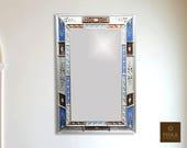 Floral Mirror (eglomise) - Blue, White Walnut Color Combination - 39.4 quot x 27.5 quot , Luxury Mirror, Exclusive