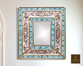 Colonial Medallion Mirror (eglomise) - White, Pink Light Blue Color Combination - 15.4 quot x 13.4 quot , Luxury Mirror, Exclusive