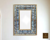 Mirror quot Blue Daysi quot - Reverse Painted Glass (eglomise) - 27.5 quot x 19.7 quot x 2 quot , Luxury Mirror, Exclusive