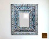 Colonial Medallion Mirror (eglomise) - Light Blue Silver Color Combination - 15.4 quot x 13.4 quot , Luxury Mirror, Exclusive
