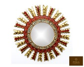 Sunburst Wall Mirror 24.4 quot - Mirror Cuzcaja style, flower design - Red Color - Frame covered with Gold Leaf, Luxury Mirror, Exclusive
