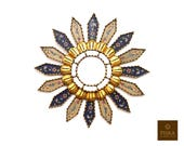 Sunburst Wall Mirror 19.7 quot - Mirror Cuzcaja style, flower design - Blue and Sand Color - Frame covered Gold Leaf, Luxury Mirror, Exclusive