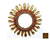 Sunburst Wall Mirror 23.6 quot - Mirror Cuzcaja style, flower design - Red or Green Frame covered with Gold Leaf, Luxury Mirror, exclusive