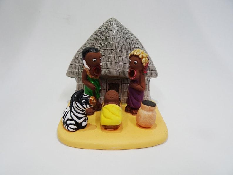 Mursi Nativity Scene - Handmade in Clay - 1 block - 3 4