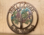 Personalized Metal Welcome Tree Green Spring or Fall Fade Door Hanger Wall Art - Any Color Powder Coat Combo