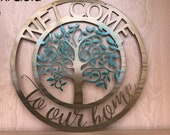 Personalized Welcome To Our Home Tree Metal Wall Art Spring Fall Fade