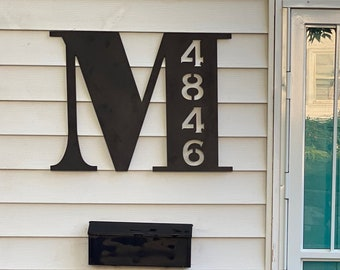 House Numbers Metal Address Sign | Monogram Porch Decor | Home Decor | Personalized Letter | Monogram Gift