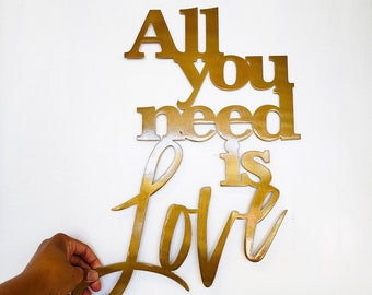 All You Need is Love Metal Wall Art Sign with Powder Coat | Handmade Home Decor | Wall Hanging Quote