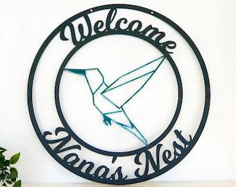 Personalized Metal Hummingbird Sign - Customizable Weatherproof Door Hanger or Wall Art Powder Coat
