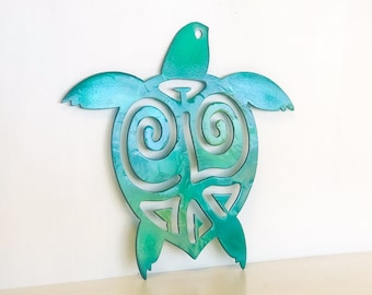 Turtle Metal Wall Art with Powder Coat Fade