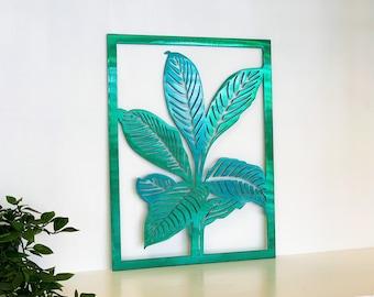 Tropical Leaf Framed Sign Metal Wall Art | Outdoor Patio Decor | Beach House Art | Unique Handmade Decor