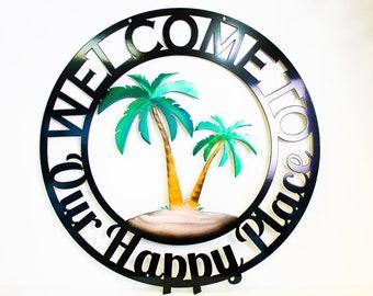 Personalized Metal Welcome Palm Tree Scene Sign - Customizable Weatherproof Door Hanger or Wall Art Powder Coat