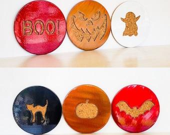 Halloween Coasters | Home Decor | Spooky Ghost Pumpkin Bat | Holiday Gift
