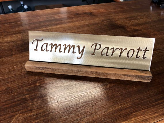 custom metal name plate for desk office with wood stand 14ga etsy