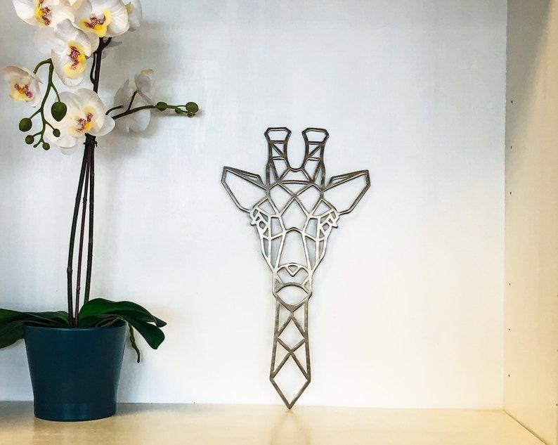 5. Geometric Giraffe Metal Wall Art
