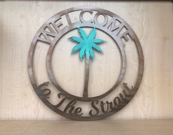 bienvenido a nuestra boda signo Tropical Beach Palm Tree Personalizado cualquier redacción