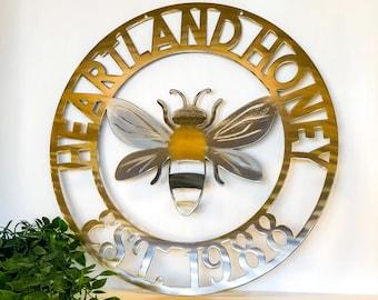 Personalized Metal Bee Sign - Customizable Weatherproof Door Hanger or Wall Art Powder Coat | Beekeeper Wall Decor | Business Sign