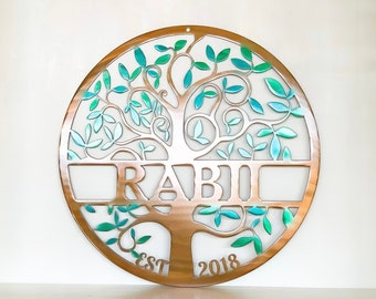 Personalized Tree of Life Metal Wall Art with Last Name and Established Date | Wedding Gift | Front Porch Decor | Monogram